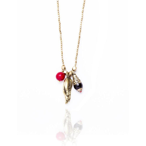 Golden Brass Zen Necklace for Peace, Tranquility and Focused Attention with Movable Meditating Hand, Black Onyx and Red Ball Charm on the Centerpiece.