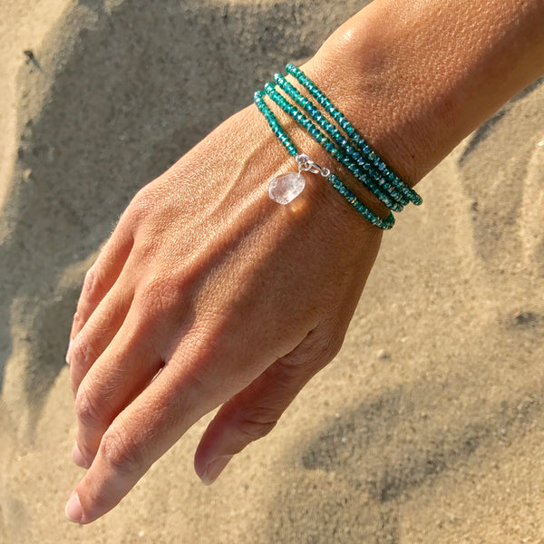 Ocean Foam Green Crystal Wrap Bracelet with River Crystal to Restore Depleted Energy