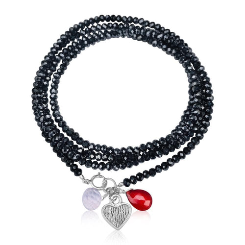 Loving Heart Midnight Dark Crystal Wrap Bracelet with Garnet & Rose Quartz The Heart has long been recognized across cultures as being a symbol for love, charity, joy and compassion.