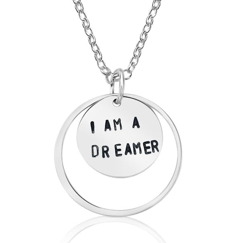 I am a Dreamer - Sterling Silver Necklace. With a little imagination and a lot of drive, you have the power to contribute to the world, or even change it. So be a dreamer.