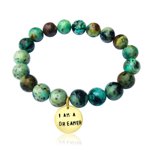 I am a Dreamer - Affirmation Bracelet with African Turquoise