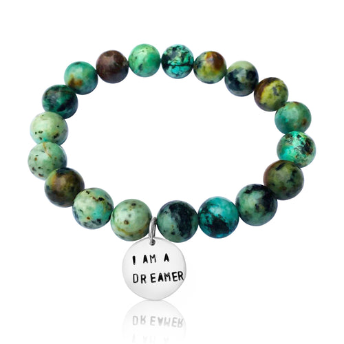 I am a Dreamer Affirmation Bracelet with African Turquoise.