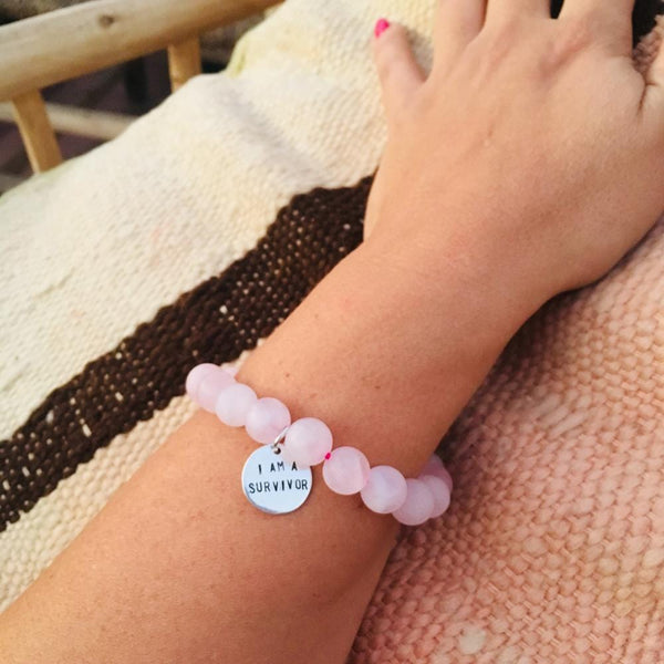 I am a Survivor Affirmation Bracelet with Rose Quartz. I am a survivor, not a victim. Cancer Survivor Jewelry, I am a Survivor Bracelet, Pink I am a Survivor Bracelet. Fxck Cancer Jewelry, cancer survivor jewelry, breast cancer jewelry, silver cancer survivor necklace, cancer survivor jewelry silver.