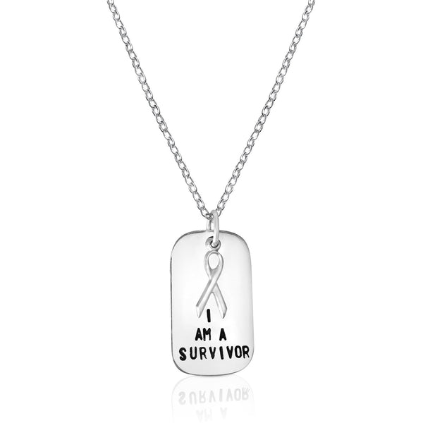 I am a Survivor - Inspirational Sterling Silver Dog Tag Necklace with Breast Cancer Ribbon