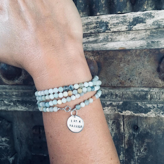 I am a Warrior Affirmation Wrap Bracelet with Amazonite. We all have to fight for something in life. Amazonite jewelry meaning, Amazonite stone for Empowerment, amazonite healing, amazonite stone meaning, i am a warrior silver jewelry, i am a warrior bracelet.