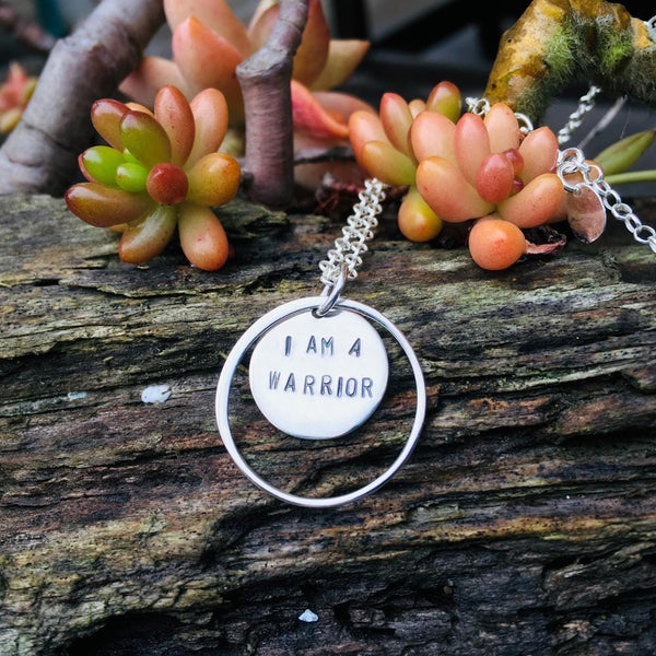 I am a Warrior - Sterling Silver Necklace. We all have to fight for something in life. What does it take to be a Warrior? You are the hero of your life. I am a Warrior Affirmation Necklace, Sterling Silver Inspirational Quote Necklace, Silver I am a Warrior Necklace, I am  a Warrior Meditation Necklace.