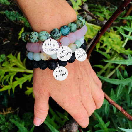 I am a Survivor - Affirmation Bracelet with Rose Quartz