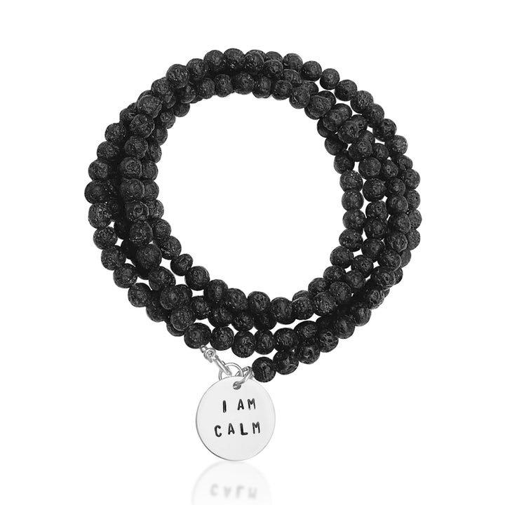 I am Calm Affirmation Bracelet with Lava Stone to Find Serenity.