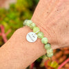 I am Content Affirmation Bracelet with Prehnite to Help Feel Happy & See the Good in All Things