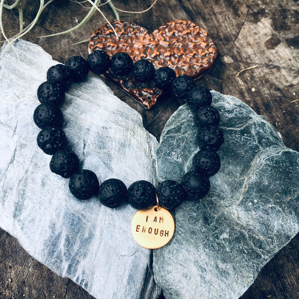 I am Enough - Gold Affirmation Bracelet with Lava Stone