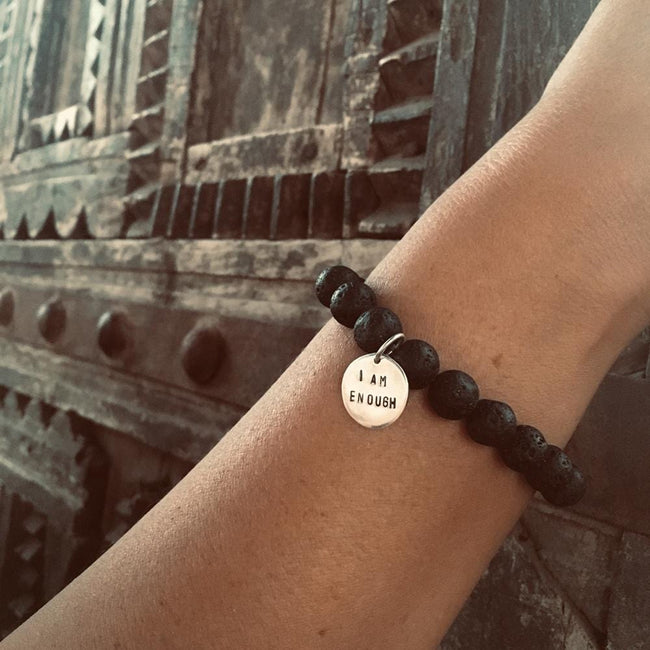 I am Enough - Affirmation Bracelet with Lava Stone. When you truly can believe 'I am enough', you will absolutely be pulled toward growth and expansion because that's human nature.