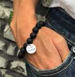 I am Enough - Affirmation Bracelet with Lava Stone.