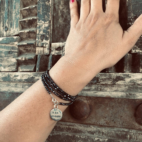 I am Enough Affirmation Wrap Bracelet with Midnight Dark Crystal. When you truly can believe 'I am enough', you will absolutely be pulled toward growth and expansion because that's human nature.