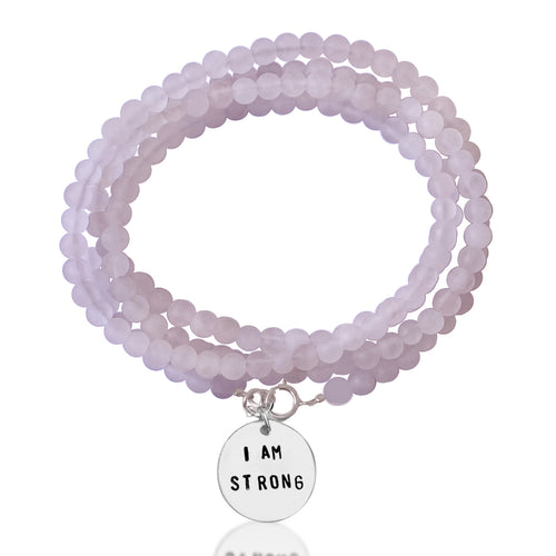 "I am Strong Affirmation Bracelet with Rose Quartz to Help Achieve Success. ""I am"" statements formulate, affirm, and perpetuate the stories you tell yourself. Stories about who you are, who you can be, and what you can do. Every ""I am"" is true, if you repeat it enough."