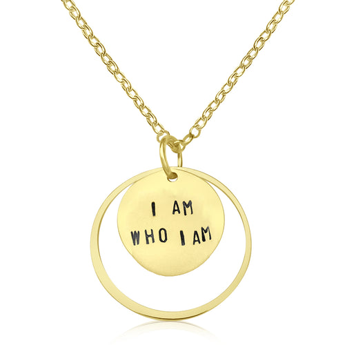 I am who I am - Gold Filled Affirmation Necklace.