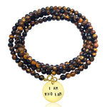I am who I am - Affirmation Wrap Bracelet with Tiger Eye