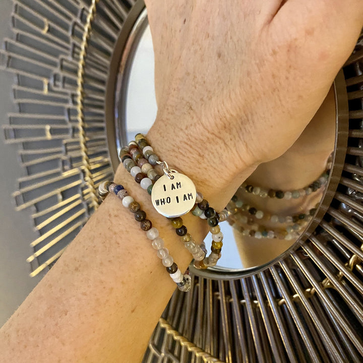 I am who I am - Affirmation Mindfulness Wrap Bracelet with a Mix of Semi-Precious Chakra Healing Stones