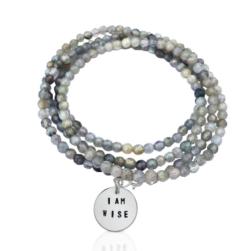 I am Wise Affirmation Bracelet with Labradorite for Success in Life  Wise people have a lot of experiences.  The reason it's often said that wisdom comes with age is, in fact, because older people tend to have had more life experiences than their younger counterparts. Experiences result wisdom.