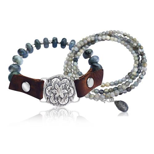 """I Choose Happiness"" Labradorite and Leather Visualization Bracelet with Sunshine Energy Lotus Flower Centerpiece plus our Labradorite Wrap Bracelet. Limited Special Edition."