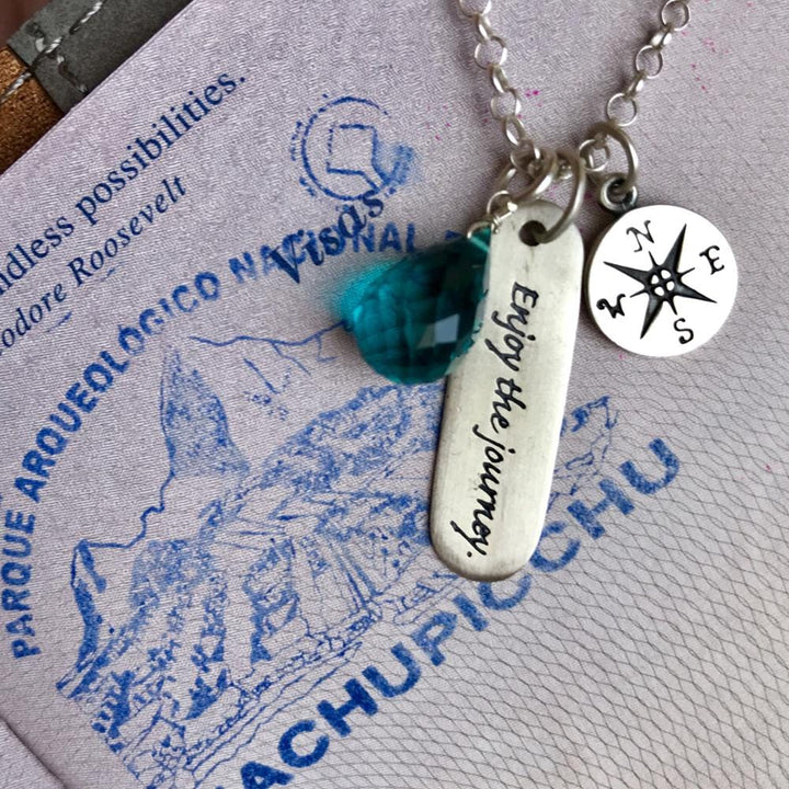 Silver enjoy the journey necklace