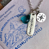 Sterling Silver Enjoy the Journey Inspirational Globe Trotter Charm Necklace with a Sterling Silver Compass and an Aqua Blue Quartz Charm
