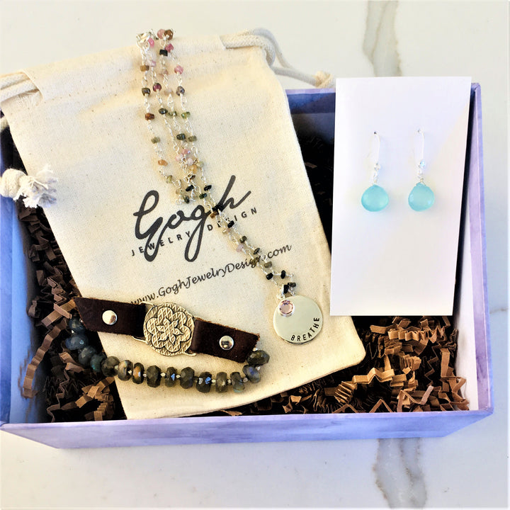 Inspirational Gift Set: BREATHE Tourmaline Necklace, Visualization Bracelet and Aquamarine Earrings Trio in a READY TO GIFT Box. $237 Value
