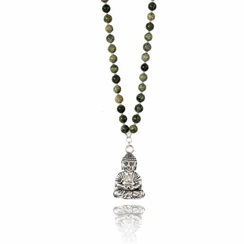 Meditation Green Jade Necklace with Buddha