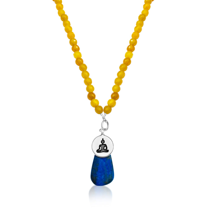 Meditating Yogi Necklace with Jade and Lapis Lazuli to open the mind to all possibilities from Gogh Jewelry Design