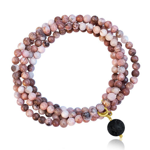 Peach Pink Earth Toned Jasper Wrap Bracelet for Protection