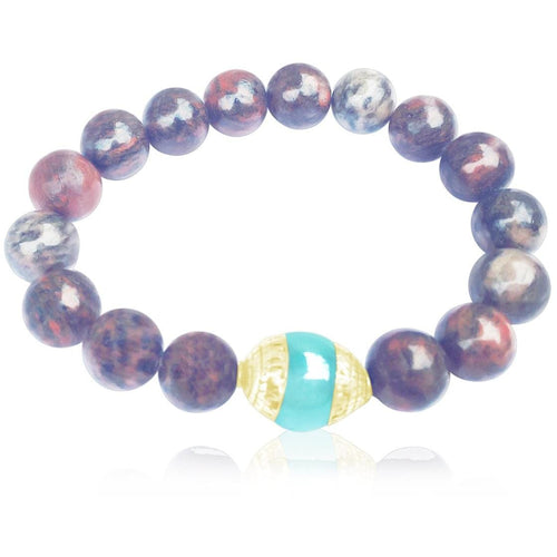 Unisex Fancy Jasper Mala Bracelet for Protection with Aquamarine