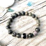 Unisex Jasper Mala Bracelet with Onyx against Negativity
