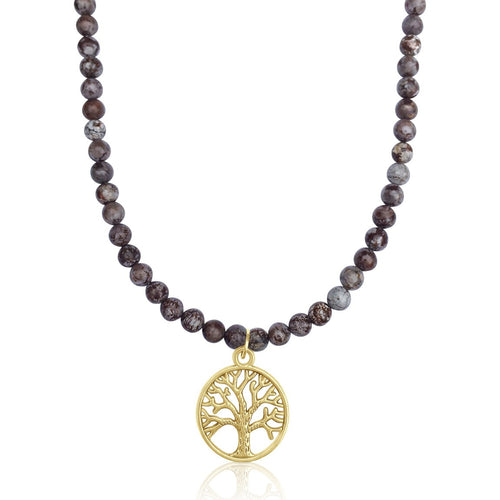 Fancy Jasper Gold Filled Tree of Life Necklace