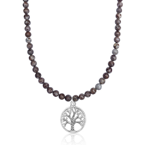 Fancy Jasper Silver Tree of Life Necklace