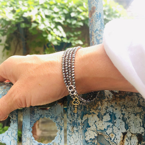 Key to Success Silver Crystal Wrap Bracelet