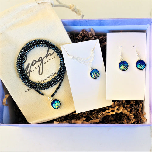 Gift Set for Kids: Be a Mermaid and Make Waves Necklace, Wrap Bracelet and Earrings in a READY TO GIFT Box.