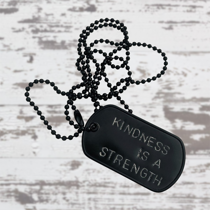 Black Dog Tag Necklace, Kindness Wins Jewelry for Men