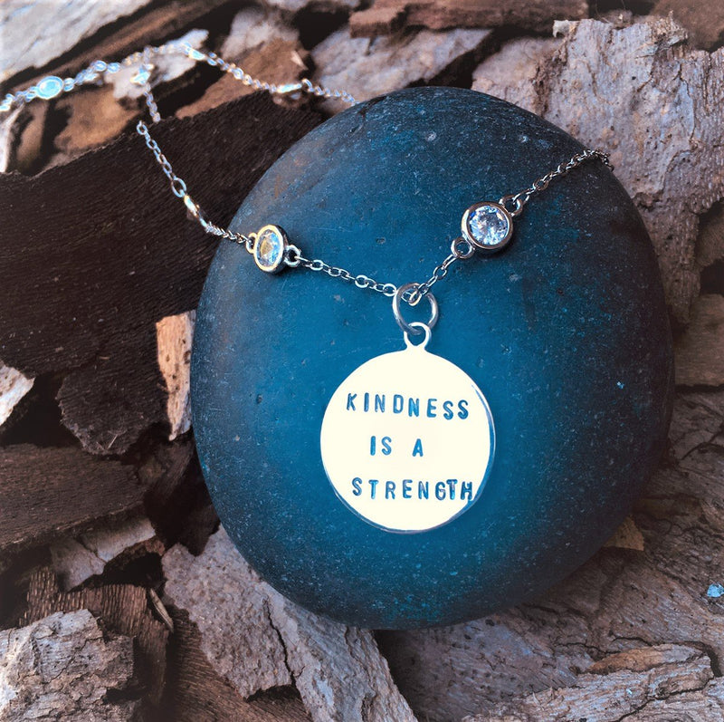 Kindness is a Strength Silver Necklace, Kindness Wins Jewelry