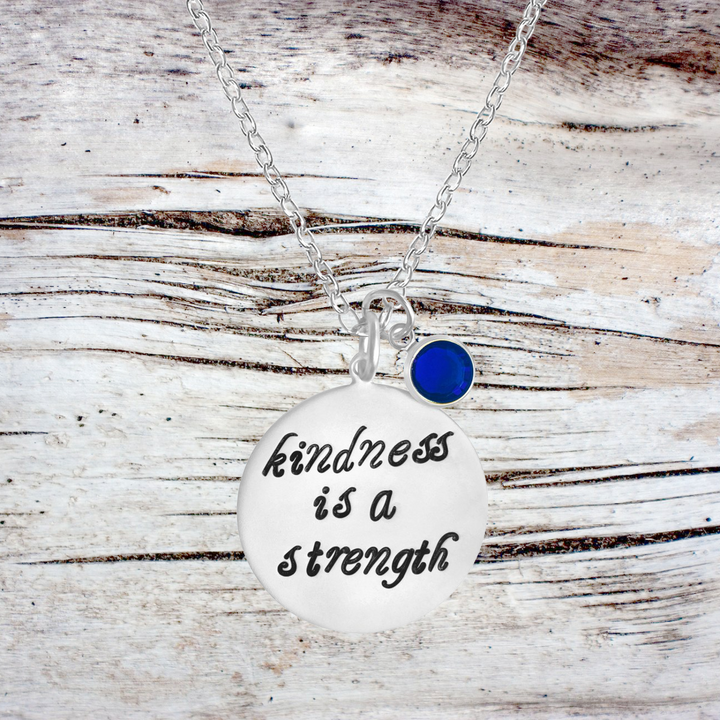 Kindness is a Strength Sterling Silver Necklace, Kindness Wins Jewelry