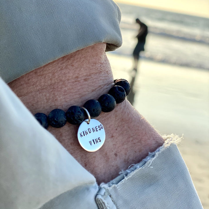 Kindness Wins Bracelet with Lava Stone