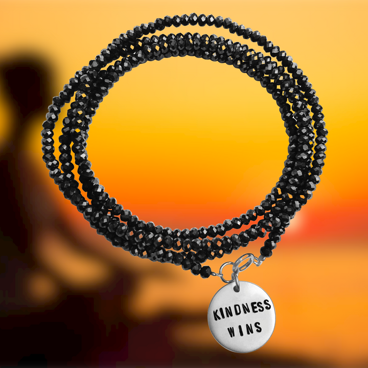 Kindness Wins Wrap Bracelet with Midnight Dark Crystals