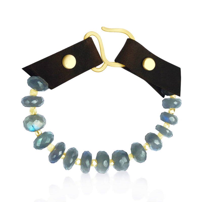 Serenity Statement Jewelry: Labradorite, Leather Prayer Bracelet