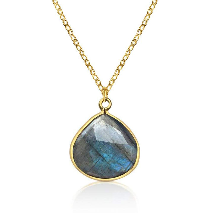 Labradorite Crystal Necklace for a Positive Change in Your Life, for Strengthening Intuition, Jewelry for Anxiety and Depression