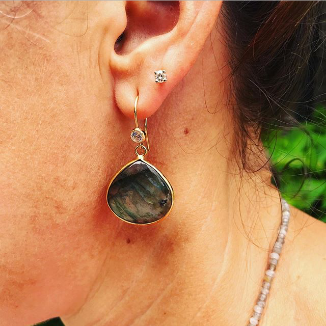 Labradorite Crystal Earrings for Change