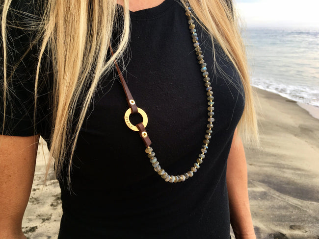 Serenity Statement Jewelry: Labradorite, Leather Prayer Inhale / Exhale Necklace for a Positive Change in Your Life. Brings good vibes for gracefully aging women. Sophisticated, inspirational and yoga accessory. Mindfulness reminder to Breathe.