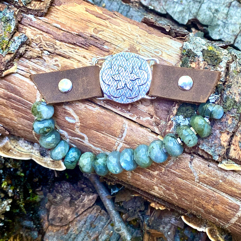 """I Choose Happiness"" Labradorite and Leather Visualization Bracelet with Sunshine Energy Lotus Flower Centerpiece"