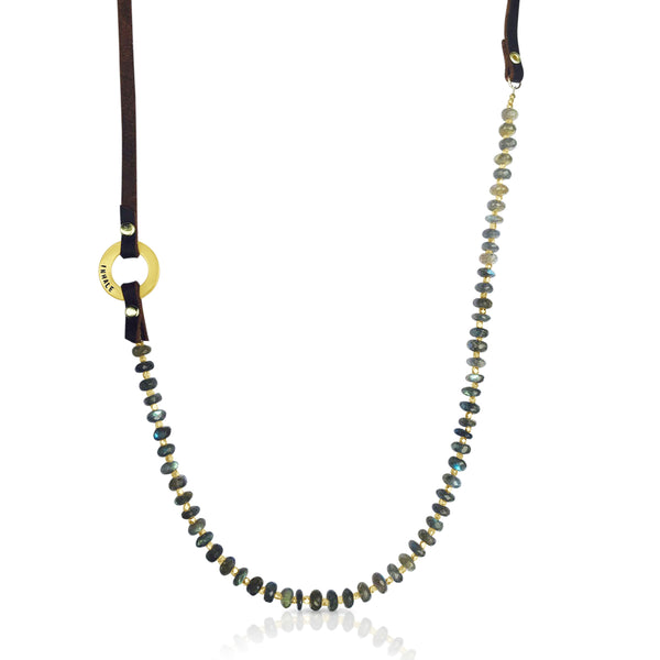 Labradorite Necklace with Gold infinity circle Inhale Exhale