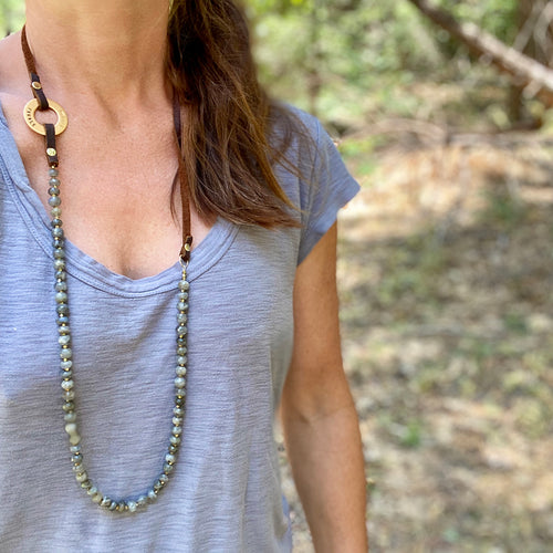 Serenity Necklace: Labradorite for a Positive Change in Your Life with Inhale - Exhale Reminder