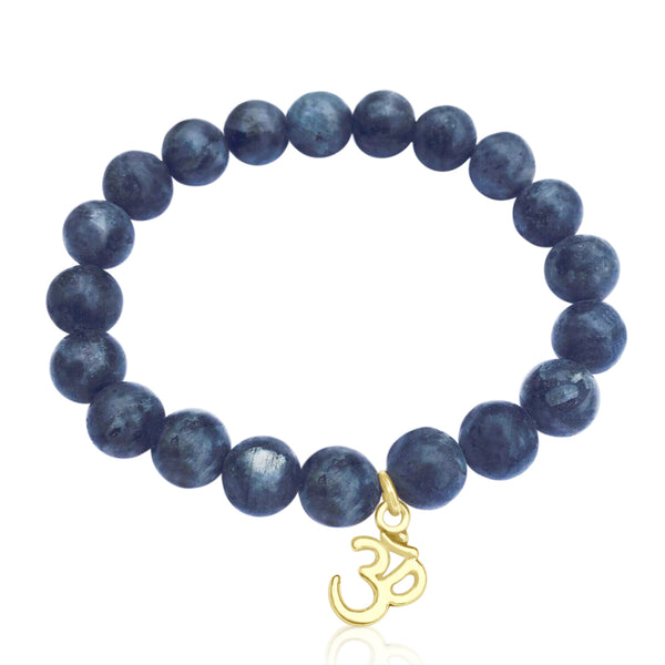 Yoga inspired Labradorite Bracelet with gold filled Ohm charm.