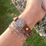 I Choose Happiness Labradorite and Leather Visualization Bracelet
