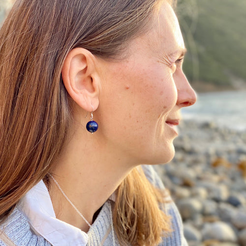 Blue Marble Ocean Blue Gratitude Silver Earrings with Lapis Lazuli Earth Symbol